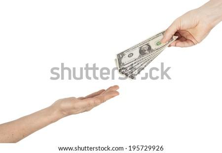 Giving money - stock photo