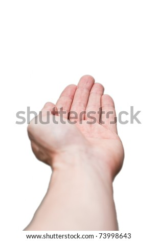 Giving, receiving hand isolated on white background - stock photo