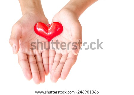 Giving the heart with the hands to say love in valentine's day.