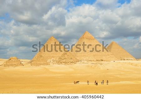 Giza Pyramids - Cairo, Egypt - stock photo