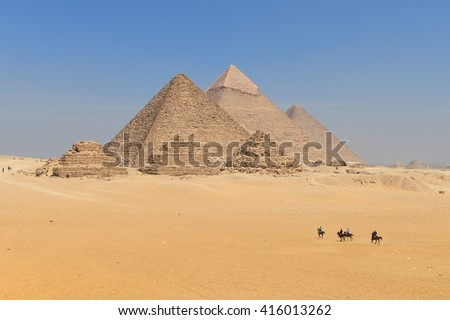 Giza Pyramids in Cairo - Egypt - stock photo