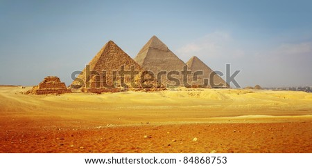 Giza valley with Great pyramids with clear blue sky - stock photo