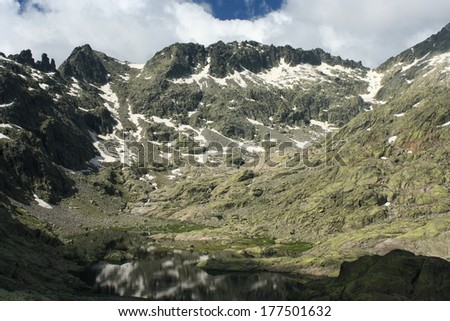 glacial laguna in Sierra de Gredos, Spain - stock photo