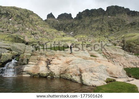 glacial stream in Sierra de Gredos, Spain - stock photo