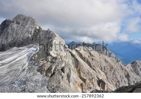 glacier and alps in winter  - stock photo