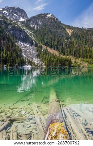 Glacier fed Joffre Lake in the mountains of British Columbia, Canada - stock photo