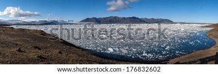 Glacier lagoon, frozen lake - panorama Iceland - stock photo