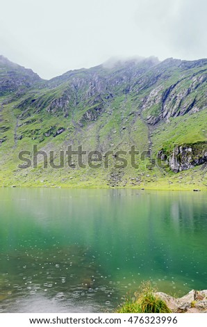 Glacier lake Balea situated at 2034 meters altitude in the Fagaras Mountains, Sibiu County.