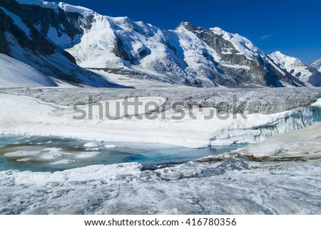Glacier melt in bright sunshine global warming climate change ice water aqua blue - stock photo
