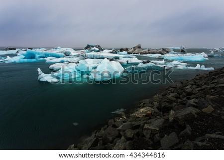 Glacier melting, glacier lagoon Jokulsarlon, Iceland - stock photo