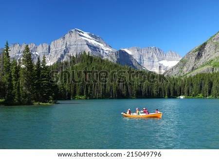 GLACIER NATIONAL PARK - JULY 9: Lake Sherburne in Glacier National Park, Montana on July 9, 2014. Glacier National Park covers an area of over 1 million acres and contains over 130 lakes.