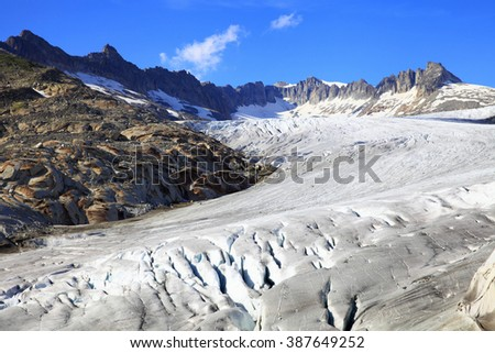 Glacier of the rhone river in the country of Switzerland  - stock photo