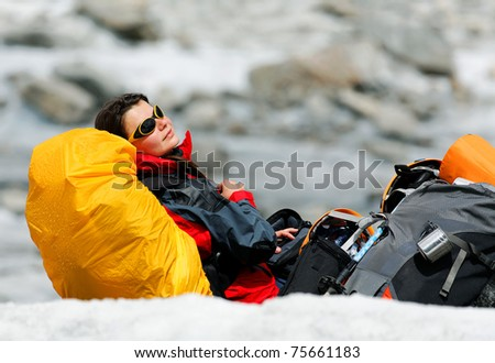 Glacier rest, Mer de Glace, France - stock photo