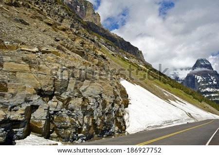 Glacier Road in Montana, United States. Rocky Mountains. - stock photo