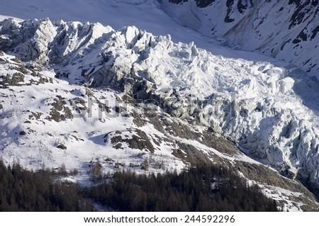 Glacier view, Chamonix, Mont Blanc Massif, Alps, France - stock photo