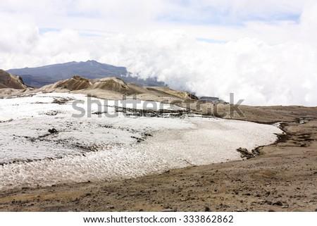 Glacier Volcano Nevado del Ruiz.Due to climate change, the glacier is running. Of the 14 glaciers that had in the twentieth century in Colombia, today only 6. - stock photo