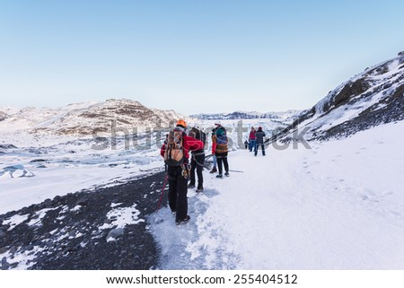 Glacier Walk in Iceland - stock photo