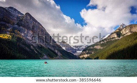 Glacier Water flowing into Lake Louise in Banff National Park in the Rocky Mountains in Canada - stock photo