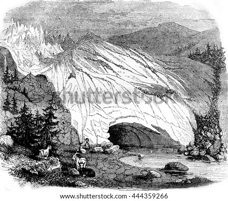 Glaciers, vintage engraved illustration. Magasin Pittoresque 1842.