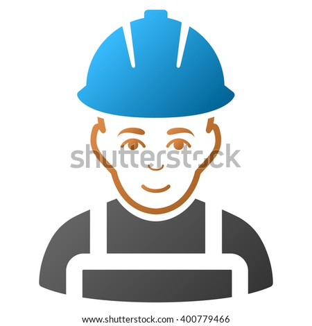 Glad Worker glyph toolbar icon for software design. Style is a gradient icon symbol on a white background.