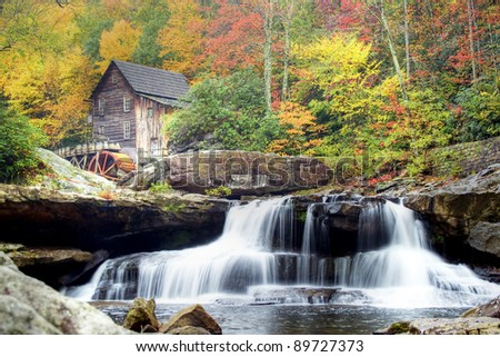 Glade Creek Mill and waterfall