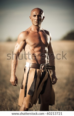 Gladiator on a field - stock photo