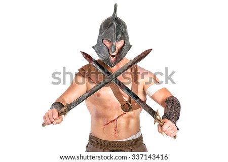 Gladiator posing isolated in a white background - stock photo