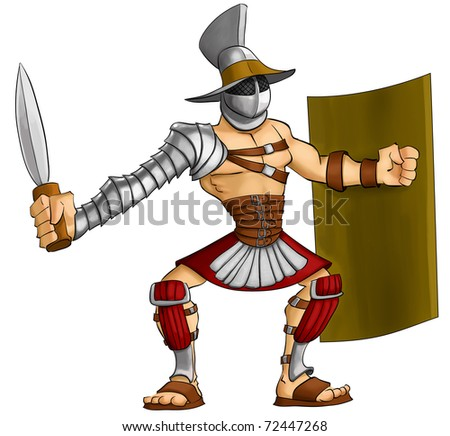 gladiator ready to fight with his gladius and shield