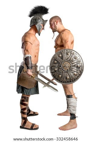 Gladiators challenging isolated in a white background - stock photo