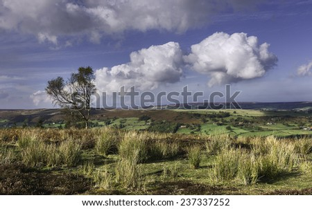 Glaisdale, Yorkshire, UK. View across Glaisdale valley in the heart of the North York Moors National Park on a bright autumn day in north Yorkshire, UK. - stock photo