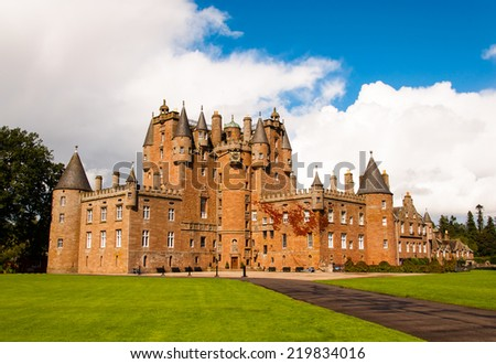 glamis castle in scotland on a summer day - stock photo
