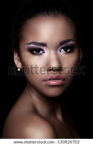 glamor closeup portrait of beautiful sexy black young woman model with bright makeup  with perfect clean  skin