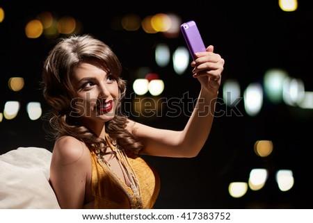 glamor fashion lady selfie - stock photo