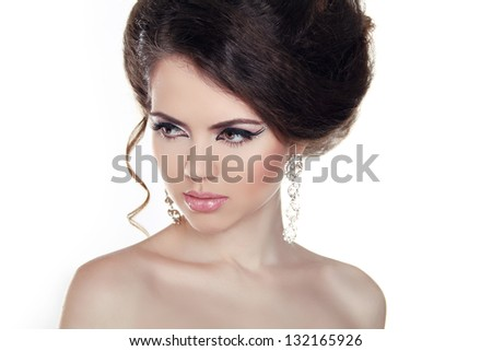 Glamor portrait of beautiful woman model. Jewelry and Beauty. Fashion photo - stock photo