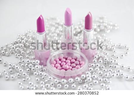 glamor shiny lipsticks isolated on white background - stock photo