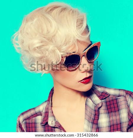 Glamorous Blonde  Lady with fashionable Hairstyle  - stock photo