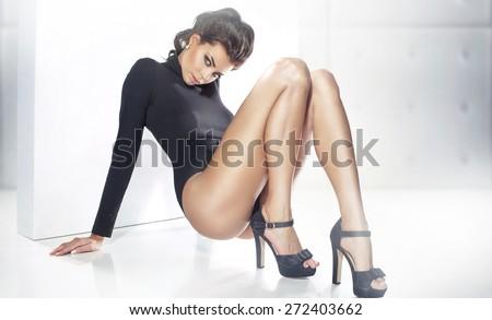Glamorous brunette beauty - stock photo