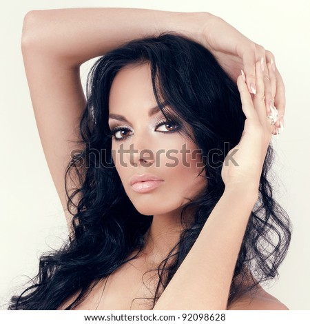 Glamorous brunette woman - stock photo