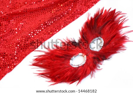 glamorous costume with sequins and feathers appropriate for halloween or a masquerade
