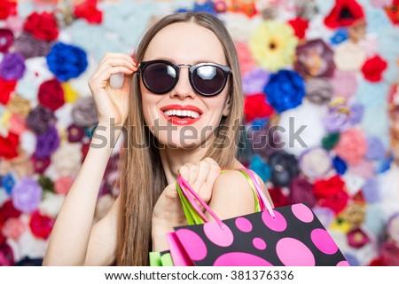 Glamorous fashion lady shopping. Summer shopping woman - stock photo