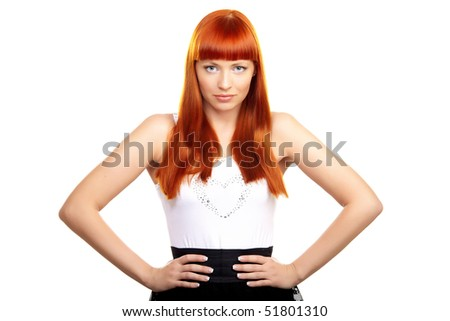 Glamorous redhead young woman on white background - stock photo