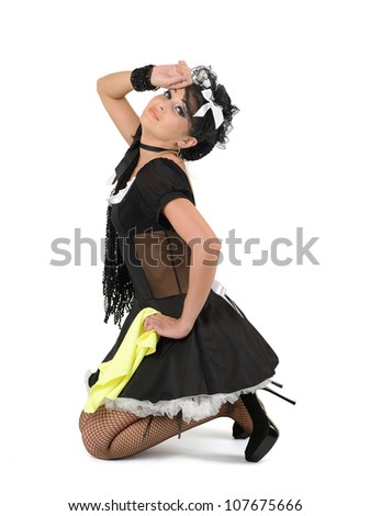 Glamorous sexy french maid with duster, concept cleaning - stock photo