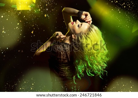 Glamorous woman having fun - stock photo