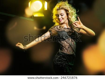 Glamorous woman having fun - stock photo