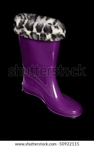 Glamorous women's boots. Isolated on black. - stock photo