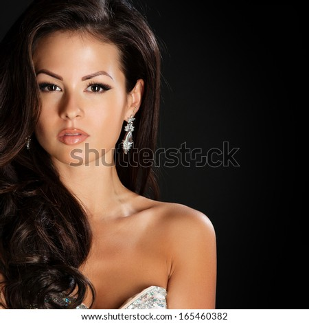 Glamour Beautiful Woman with Beauty Brown Hair - stock photo