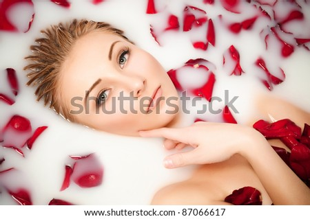 glamour closeup portrait, Milk and Roses - stock photo