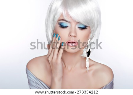Glamour Fashion Blond Woman Portrait. Makeup. White short bob hairstyle. Expensive Jewelry. - stock photo
