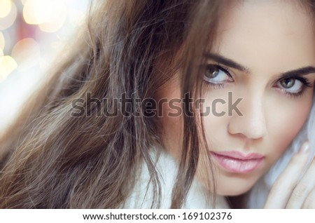 Glamour Fashion Woman Portrait. Makeup and Hair. - stock photo