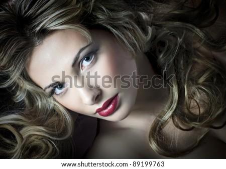 glamour fashionable portrait of pretty woman - stock photo